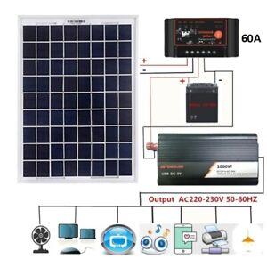 Solar Panel Complete Set 60A 18V 20W  12V/24V Digital Controller 1000W Inverter