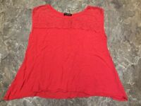 HIP Happening in the Present Sz S Orange Loose Oversize Tank Top Blouse Lace Top