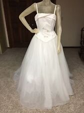 Alfred Angelo Wedding Dress Sz 8 Ivory Beaded Pearl Ballgown