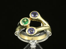 Schicker Tansanit Tsavorith Ring ca. 0,75ct    585/- Gelbgold Ringweite 58