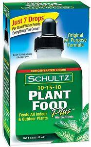 "Schultz All Purpose 10-15-10 Plant Food Plus, 4-ounce Liquid Fertilizer ""NEW"""