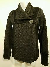 Aran Mor 100% Irish Merino Wool Single Button Charcoal Sweater Coat Jacket sz M