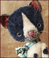 By Alla Bears artist Old Antique Cat Teddy Bear art doll OOAK boy pet home decor