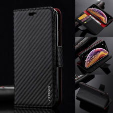 Premium Carbon Leather Case Flip Wallet Cover For iPhone SE 11 Pro XR XS 7 8 6s