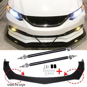For Honda Civic Sedan Carbon Fiber Front Bumper Lip Spoiler Splitter +Strut Rods