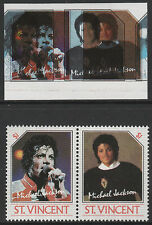 St Vincent (2249) - 1985 Michael Jackson pair Colours SHIFTED & OMITTED u/m