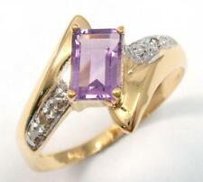 SYJEWELLERY 9CT YELLOW GOLD OCTAGON NATURAL AMETHYST & DIAMOND RING SIZE N R988