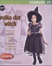 Black Purple Polka Dot Witch Toddler Halloween Costume Dress Hat 2T BNIP