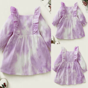 UK Tie-dyed Wick Strip Long-sleeved Dress Baby Girl Featured Skirt Ruffled Dress