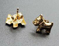 Dog Earrings 14k Yellow Gold Scottie Scotty 585 Scottish Terrier Yorkshire Corgi