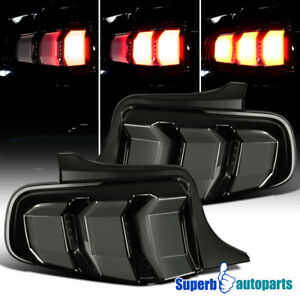 For 2010-2012 Ford 10-12 Mustang Tail Lights LED Sequential Glossy Black Smoke