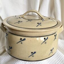 "Hand Thrown Art Pottery 8"" Casserole Bean Dish Lid & Handles Earth Tone & Blue"