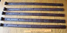 """5 Rusty Wrought iron hinge straps barn decor Vintage Antique hand wrought 31"""""""