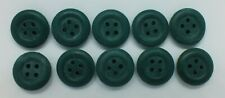 Vintage Military 4 Hole Rubber  Buttons Green Pack of 10 19mm