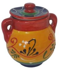 Sugar Bowl With Lid 11 cm x 10 cm Traditional Spanish Handmade Ceramic Pottery