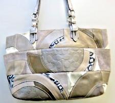 Coach Shoulder Bag Gray Suede, Canvas and Leather Patchwork Purse Handbag