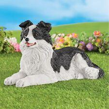 Realistic Black & White Border Collie Puppy Dog Garden Statue