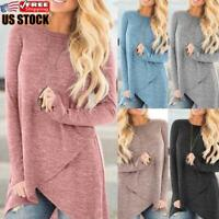 Women Long Sleeve T-shirt Ladies Round Neck Casual Loose Solid Blouse Tunic Tops