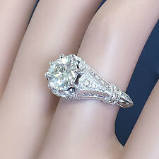 14k white gold round moissanite diamond engagement ring deco bridal halo 2.20ctw