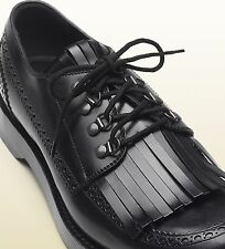$990 NEW Gucci Men's  Leather Fringed Brogue Lace-up Shoe sz  Italy 10
