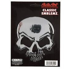 Mean skull tete de mort crâne Emblème Autocollant Décalque sticker Chrome NEUF