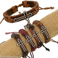 12x/lot Men's bracelet long hollow cross women's bracelets leather wristbands