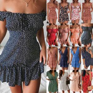 Womens Polka Dot Floral Boho Mini Dress Ladies Summer Beach Holiday Sundress