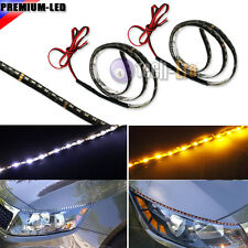 Switchback White/Amber Audi Type Side Glow 60-SMD LED DRL Headlight Strip Lights