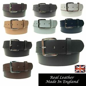 """MENS WOMENS 1.5"""" REAL LEATHER GENUINE MADE IN ENGLAND JEANS 40MM WIDE BELT B523"""