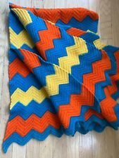 VTNG Handmade Crochet Rainbow Pride Stripe Afghan Blanket 64x43 Chevron Zig Zag