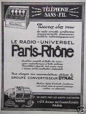 PUBLICITÉ PARIS RHÔNE LE RADIO UNIVERSEL TÉLÉPHONIE SANS FIL