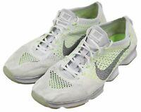 Nike Flyknit Zoom Womens Ladies White Neon Mesh Athletic Sneakers Shoes Sz 10.5