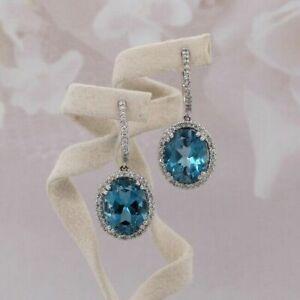 5Ct Oval Cut London Blue Topaz Pretty Drop/Dangle Earrings 14K White Gold Finish