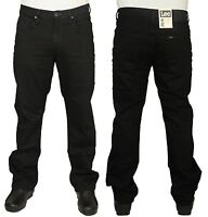 MENS LEE BROOKLYN STRAIGHT LEG JEANS REGULAR FIT STRETCH BLACK PANTS 30 TO 48