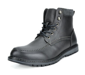 Bruno Marc Mens Faux Fur Motorcycle Riding Combat Leather Oxfords Ankle Boots