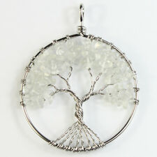 Amethyst Labradorite Lapis Lazuli Chips Tree of Life Silver Round Shaped Pendant