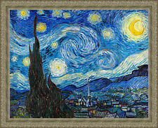 Starry Night by Vincent van Gogh 84cm x 68cm Framed Silver Ornate