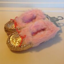 NEW Girls 11 12 Disney Store Furry Pink Gold Glitter Slippers House Shoes NWT