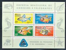 BRAZIL 1969 FISH MINI SHEET OF 4 DIFFERENT SCOTT 1130