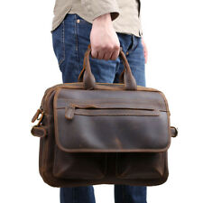 "Vintage Men Leather Handbag Briefcase 15"" Laptop Messenger Shoulder Bag Satchel"