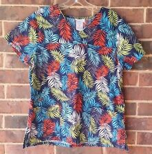 Scrub Star Womens Top Medium Uniform Navy/Teal/Green/Orange/White Leaf Print