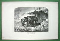 COSSACK HORSES in Winter Storm by Schreyer - Victorian Antique Print