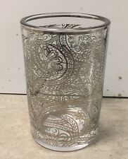 BELLA LUX SILVER PAISLEY GLASS TOOTHBRUSH HOLDER