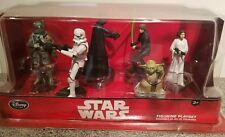Disney Store Star Wars 6 Piece Figurine Set Darth Vader Yoda Boba Fett Leia Luke