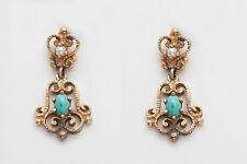 Vintage 1940s Etruscan 3ct Turquoise Pearl 14k Gold DANGLE Earrings NICE!!!