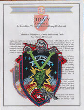 3rd Bn 7th Special Forces Group Airborne ODA-7 El Salvador patch & Certificate