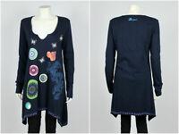 Womens Desigual Tunic Long Sleeve Geometric V-neck Blue Size XL