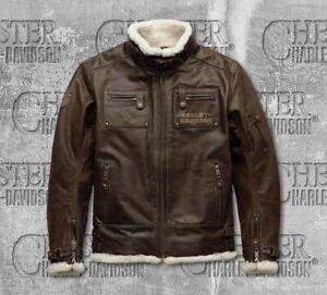 Harley-Davidson Men's Brown Leather Riding Jacket Coat M  97025-19EM RRP£634