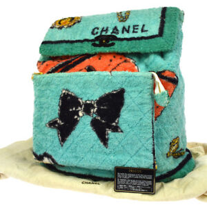 Authentic CHANEL Quilted Towelling Backpack Light Blue Vintage GHW AK25578g