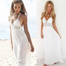 Women Crochet Backless Halterneck Evening Party Boho Maxi Long Dress Sundress UK